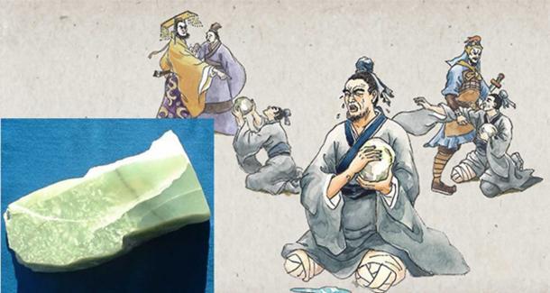 Иллюстрация к легенде о Хэ Ши Би (The Vision Times/CC BY 4.0) и кусок необработанного нефрита.